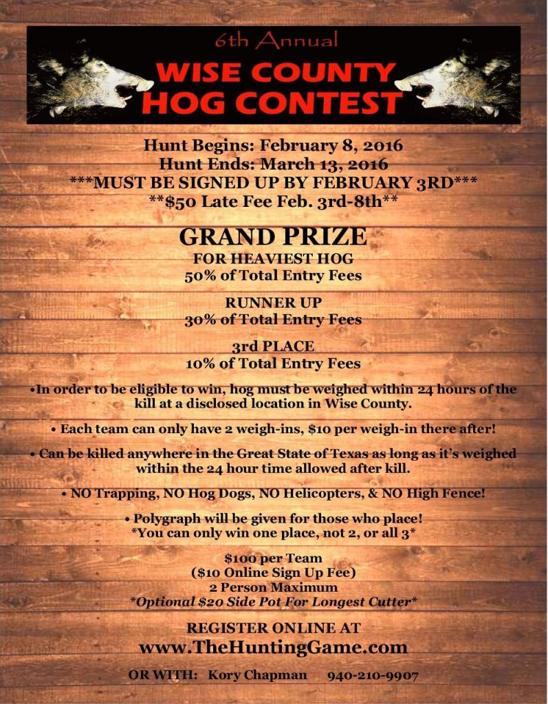 2016 Hog Contest Flyer Internet