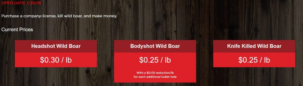 Wild Boar Company Prices